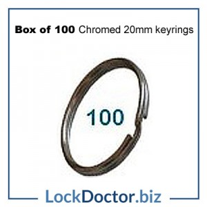 Box of 100 Chromed 20mm keyRINGS from lockdoctorbiz