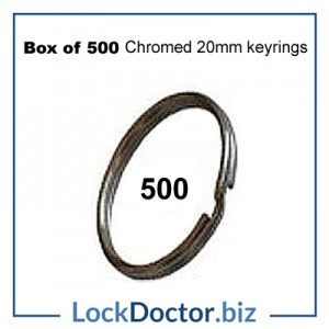 Box of 500 Chromed 20mm keyRINGS from lockdoctorbiz
