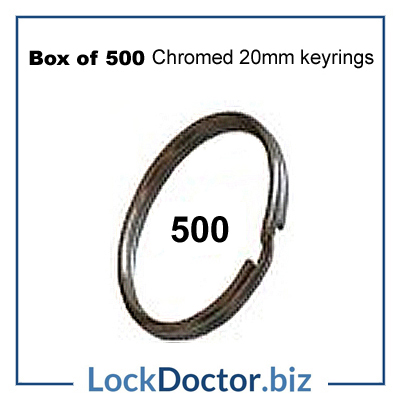 Box of 500 Chromed 20mm keyRINGS from lockdoctorbiz