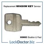 H0663 Boulton Paul Window Key from lockdoctorbiz