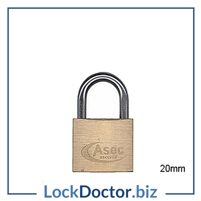 KMAS2501 ASEC 20mm Locker Padlock KEYED TO DIFFER with 2 keys each available NEXT DAY from lockdoctorbiz