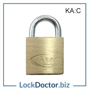 KMAS2504 ASEC 30mm Brass Padlock Keyed Alike C