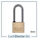 KMAS2507 ASEC 30mm LONG SHACKLE Locker Padlock KEYED TO DIFFER with 2 keys each available NEXT DAY from lockdoctorbiz