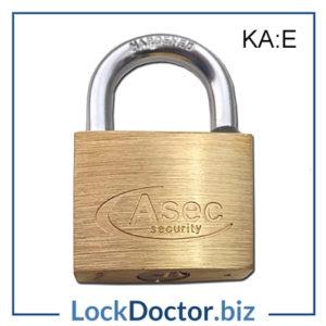 KMAS2512 ASEC 40mm Brass Padlock Keyed Alike E