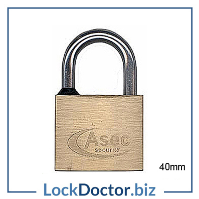 KMAS2516 ASEC 40mm Locker Padlock KEYED TO DIFFER with 2 keys each available NEXT DAY from lockdoctorbiz