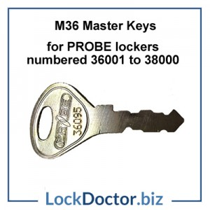 M36A Master Key opens LF ENGLAND PROBE Locker locks numbered 36001 to 38000 restricted by lockdoctorbiz