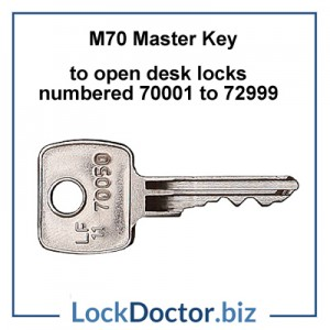 M70 Master Key opens LF ENGLAND office furniture locks numbered 70001 to 70999 restricted by lockdoctorbiz