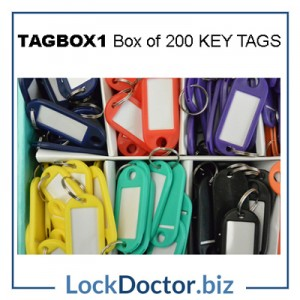 TAGBOX1 Box of 200 Coloured plastic tags with key rings from lockdoctorbiz
