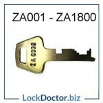 ZA001 to ZA1800 LF ENGLAND Flat Steel ZA Locker Key in the Lowe and Fletcher
