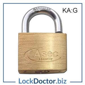 KMAS2522 ASEC 50mm Brass Padlock Keyed Alike G