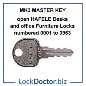MK3 Hafele Master key for HAFELE desk and cupboard locks numbered 0601 to 3936 restricted by lockdoctorbiz