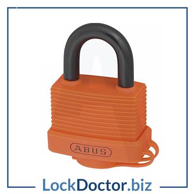 KML19177 ABUS 70AL Series Weather Resistant Aluminium Open Shackle ORANGE Padlock with 2 keys from lockdoctorbiz