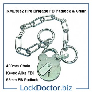 FB FIRE BRIGADE FB1 Padlock and Chain to Secure Commercial and Public Gates