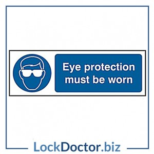KMAS4638 Eye Protection Must Be Worn 300mm x 100mm PVC Self Adhesive Sign