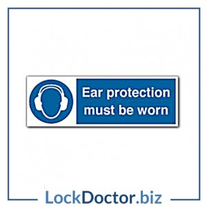 KMAS4639 Ear Protection Must Be Worn 300mm x 100mm PVC Self Adhesive Sign