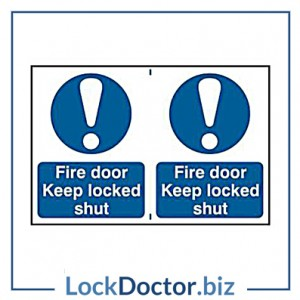 KMAS4642 Fire Door Keep Locked Shut 200mm x 300mm PVC Self Adhesive Sign
