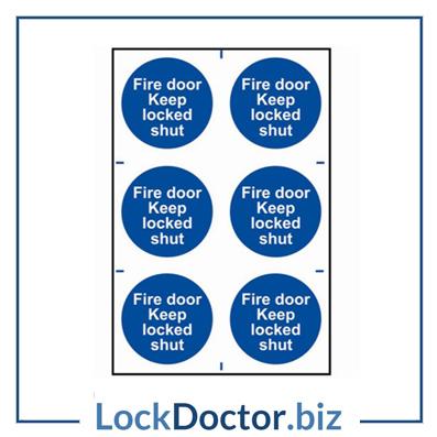 KMAS4643 Fire Door Keep Locked Shut 200mm x 300mm PVC Self Adhesive Sign