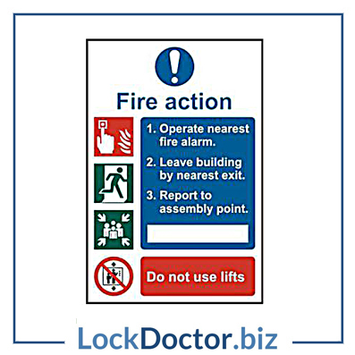 KMAS4646 Fire Action Procedure 200mm x 300mm PVC Self Adhesive Sign
