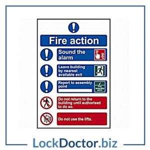 KMAS4647 Fire Action Procedure 200mm x 300mm PVC Self Adhesive Sign