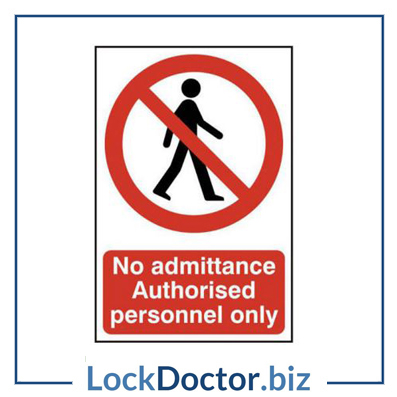 KMAS4668 No Admittance Authorised Personnel Only 200mm x 300mm PVC Self Adhesive Sign
