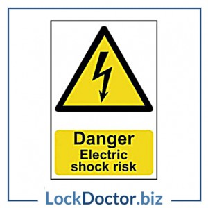 KMAS4670 Danger Electric Shock Risk 200mm x 300mm PVC Self Adhesive Sign