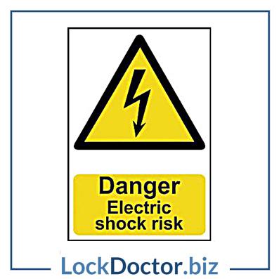 KMAS4670 Danger Electric Shock Risk 200mm x 300mm PVC Self Adhesive Sign