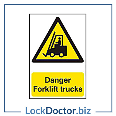 KMAS4677 Danger Forklift Trucks 200mm x 300mm PVC Self Adhesive Sign