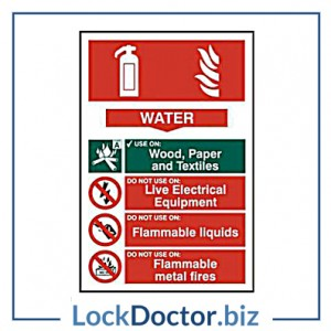 KMAS4683 Fire Extinguisher WATER 200mm x 300mm PVC Self Adhesive Sign
