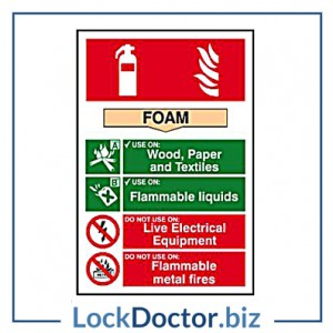 KMAS4684 Fire Extinguisher FOAM 200mm x 300mm PVC Self Adhesive Sign