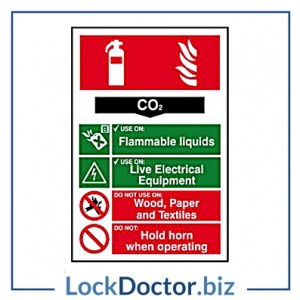 KMAS4685 Fire Extinguisher CO2 200mm x 300mm PVC Self Adhesive Sign