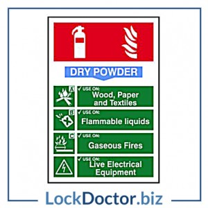 KMAS4686 Fire Extinguisher DRY POWDER 200mm x 300mm PVC Self Adhesive Sign