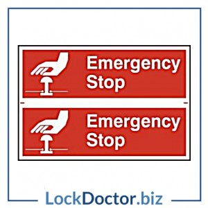 KMAS4688 Emergency Stop 200mm x 300mm PVC Self Adhesive Sign