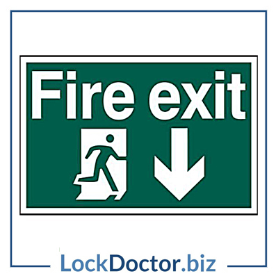 KMAS4690 Fire Exit DOWN 200mm x 300mm PVC Self Adhesive Sign