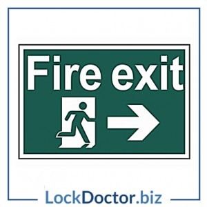 KMAS4691 Fire Exit RIGHT 200mm x 300mm PVC Self Adhesive Sign