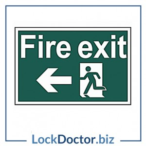 Fire Exit LEFT 200mm x 300mm PVC Self Adhesive Sign