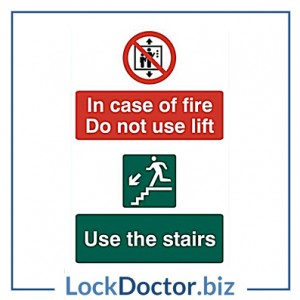 KMAS4695 In Case Of Fire Do Not Use Lift 200mm x 300mm PVC Self Adhesive Sign