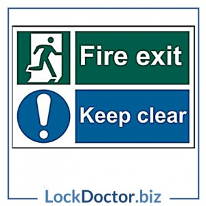 KMAS4696 Fire Exit Keep Clear 200mm x 300mm PVC Self Adhesive Sign