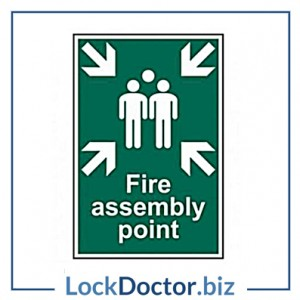 KMAS4697 Fire Assembly Point 200mm x 300mm PVC Self Adhesive Sign
