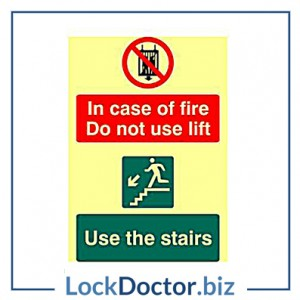 KMAS4707 In Case Of Fire Do Not Use Lift PVC Self Adhesive Photo luminescent Sign