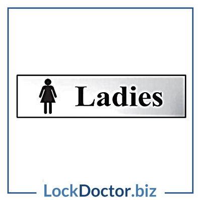 KMAS4747 Ladies 200mm x 50mm Chrome Self Adhesive Sign