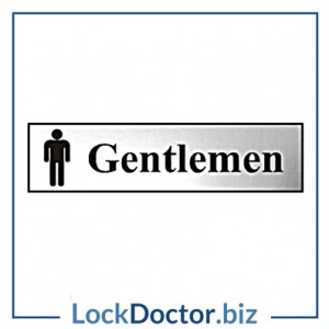 KMAS4748 Gentlemen 200mm x 50mm Chrome Self Adhesive Sign