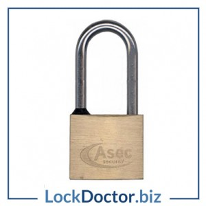 KMAS2526 ASEC 50mm Brass Locker Padlock KEYED TO DIFFER 2 keys each available NEXT DAY from lockdoctorbiz